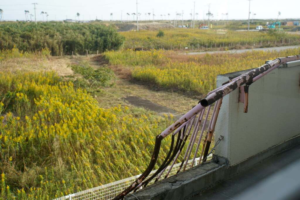 twisted balcony railing in Tohoku, Japan, an aftermath of the 2011 Tsunami