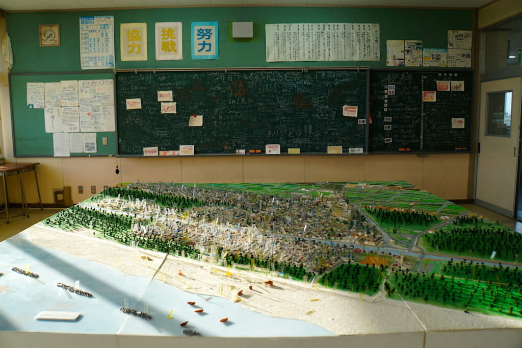 neighborhood model in classroom of 2011 Tohoku earthquake and tsunami hit region in Japan