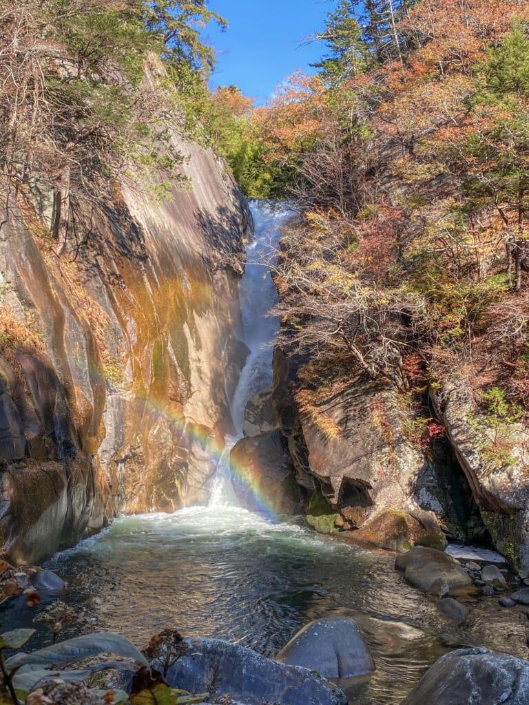 Sengataki falls in Japan and its rainbow