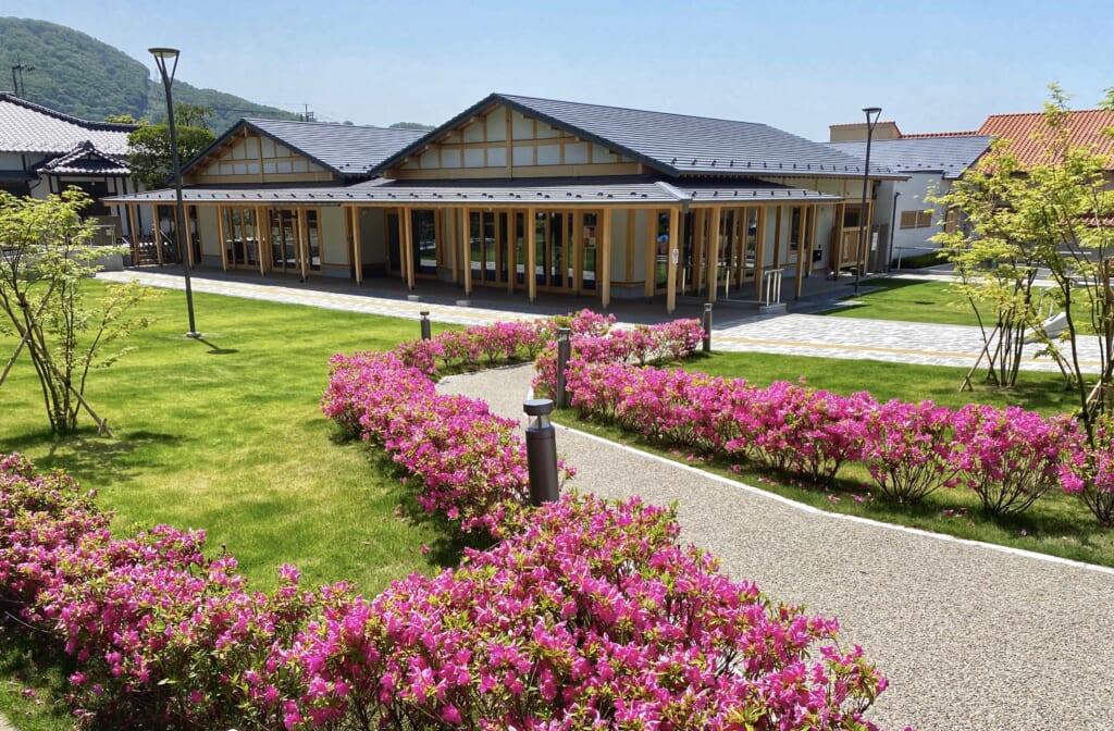 Shingen Museum next to Takeda Shrine in Flowers in Japan