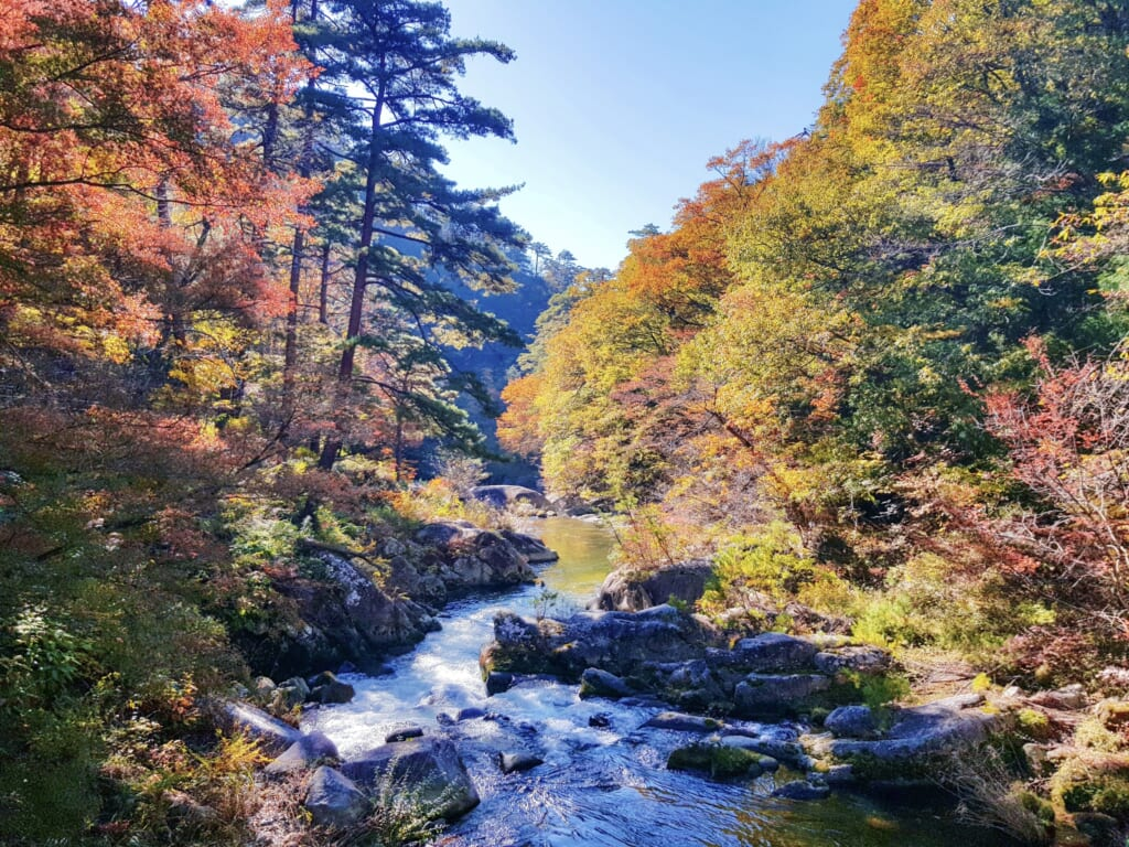 Shosenkyo Gorge and autumn colors in Japan