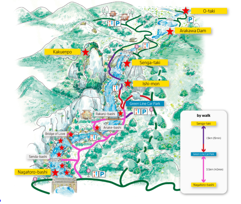 Shosenkyo Gorge access map for hiking in Japan