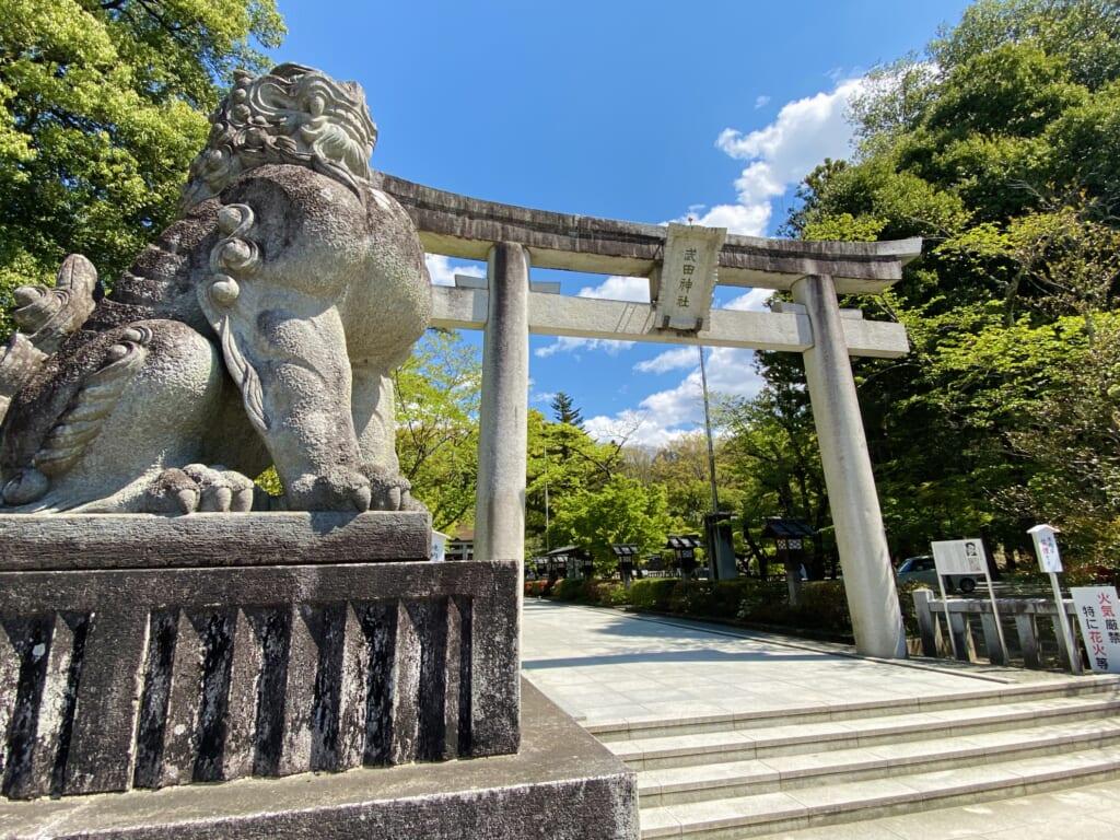 Takeda shrine, a traditional Japanese shrine in Japan