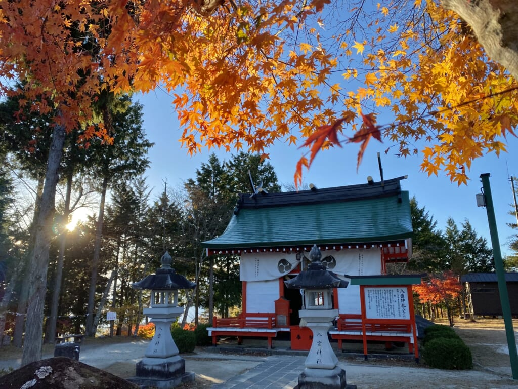 Yakumo shrine, a traditional religious site in Japan with autumn leaves