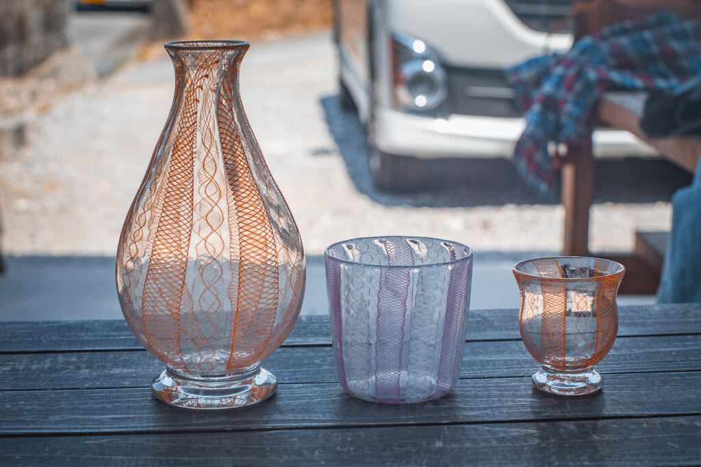 pink okinawan glassware in Japan