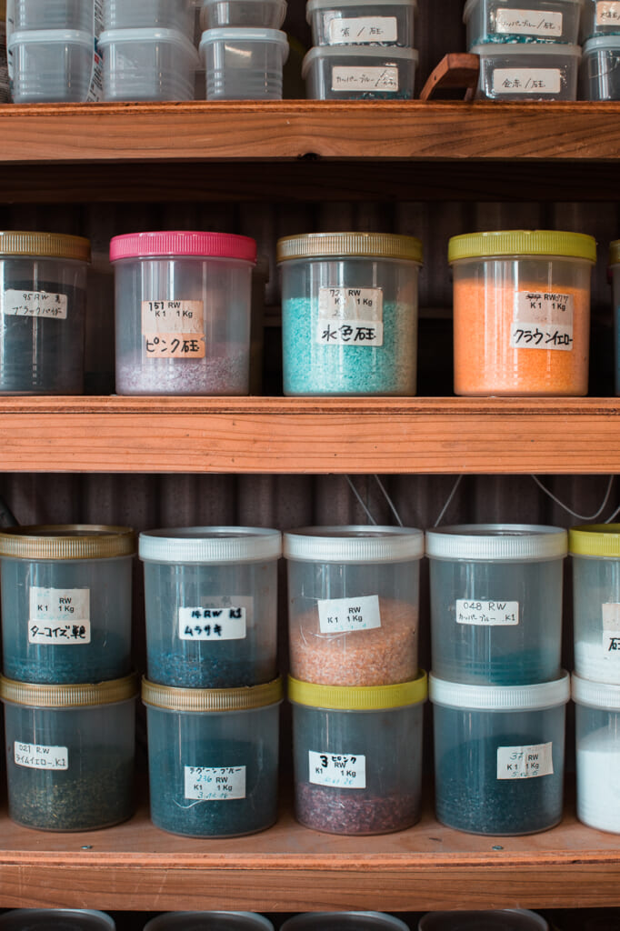 different color pigments used for glass making in Okinawa, Japan