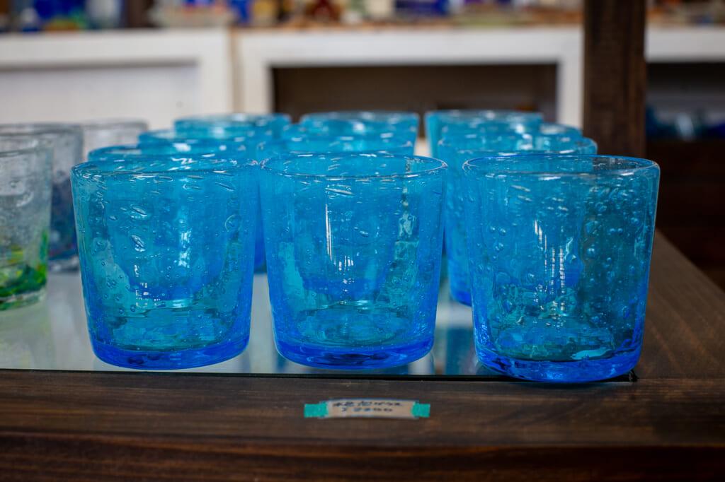 blue okinawan glasses