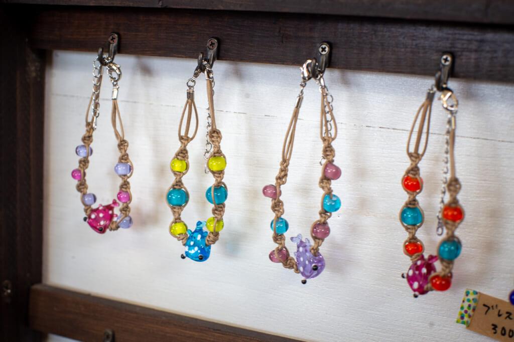 colorful bracelets using glass beads in Okinawa, Japan