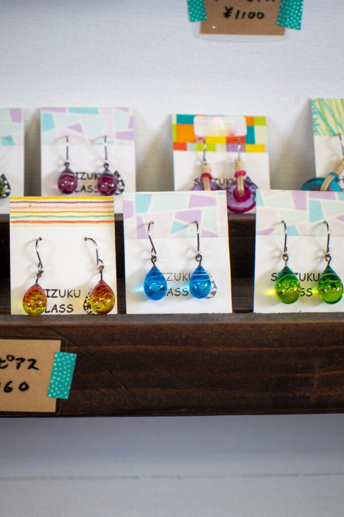 colorful earrings glassware in okinawa Japan