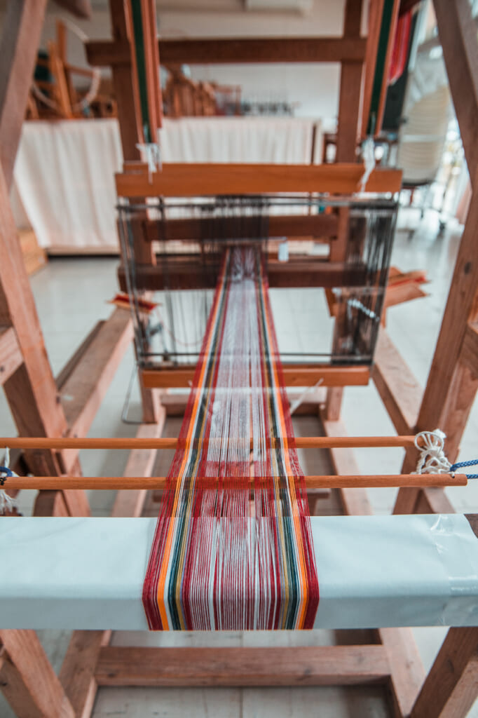 threads in the handloom for making japanese textiles