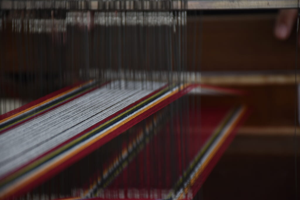 detail of the japanese threads in handloom