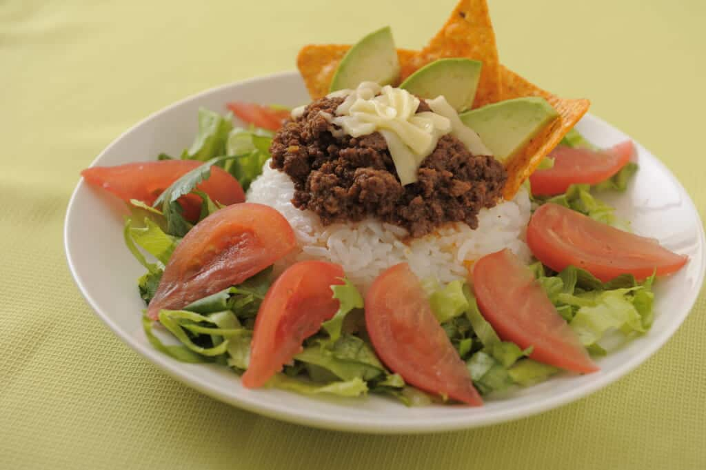 taco rice, okinawan food in Japan