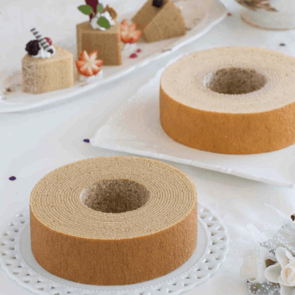 two Baumkuchen desserts from Japan