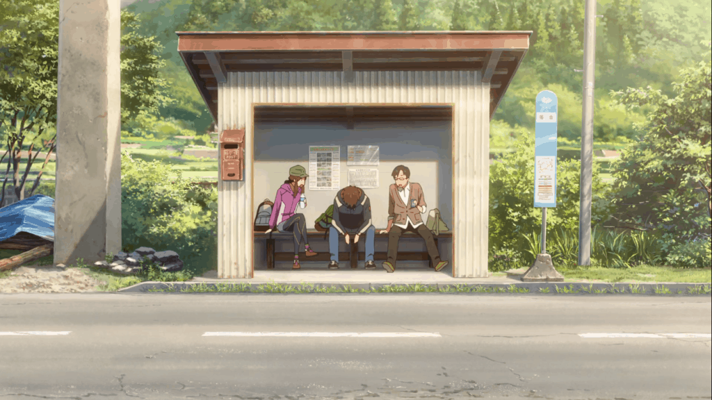 Scene from Your Name at Hida bus stop