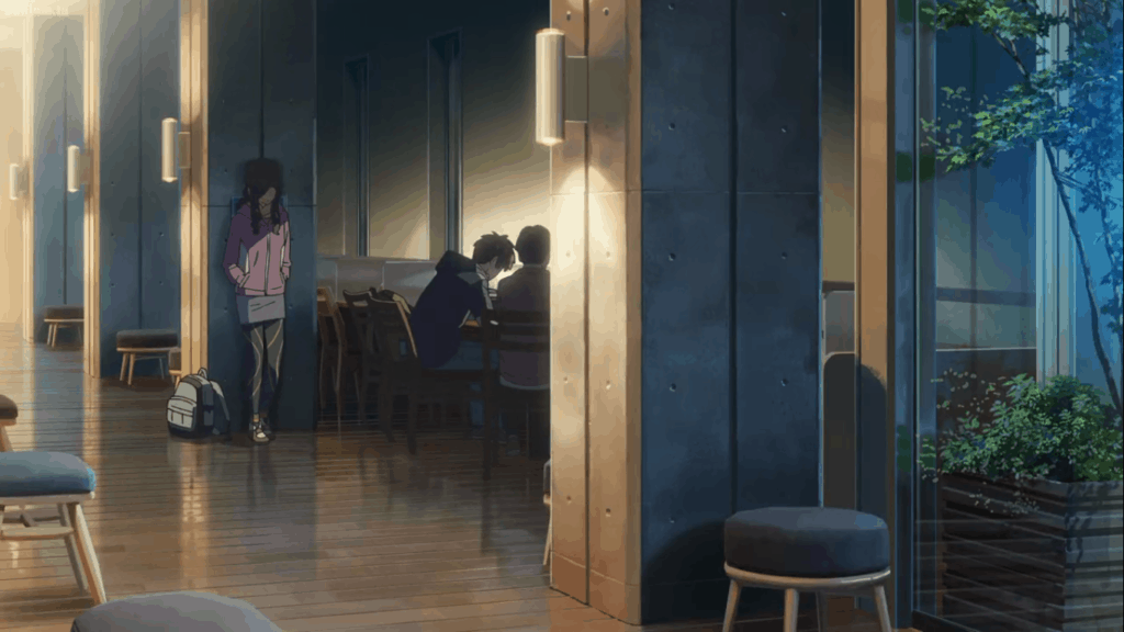 Scene from Your Name in Hida's library.