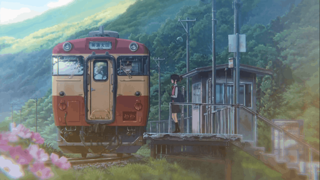 Scene from Your Name at Itomori Train Station