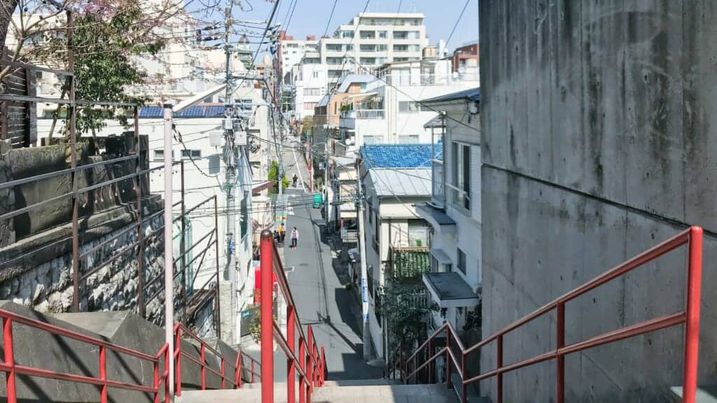 Yotsuya stairs from movie, Your Name, in Japan