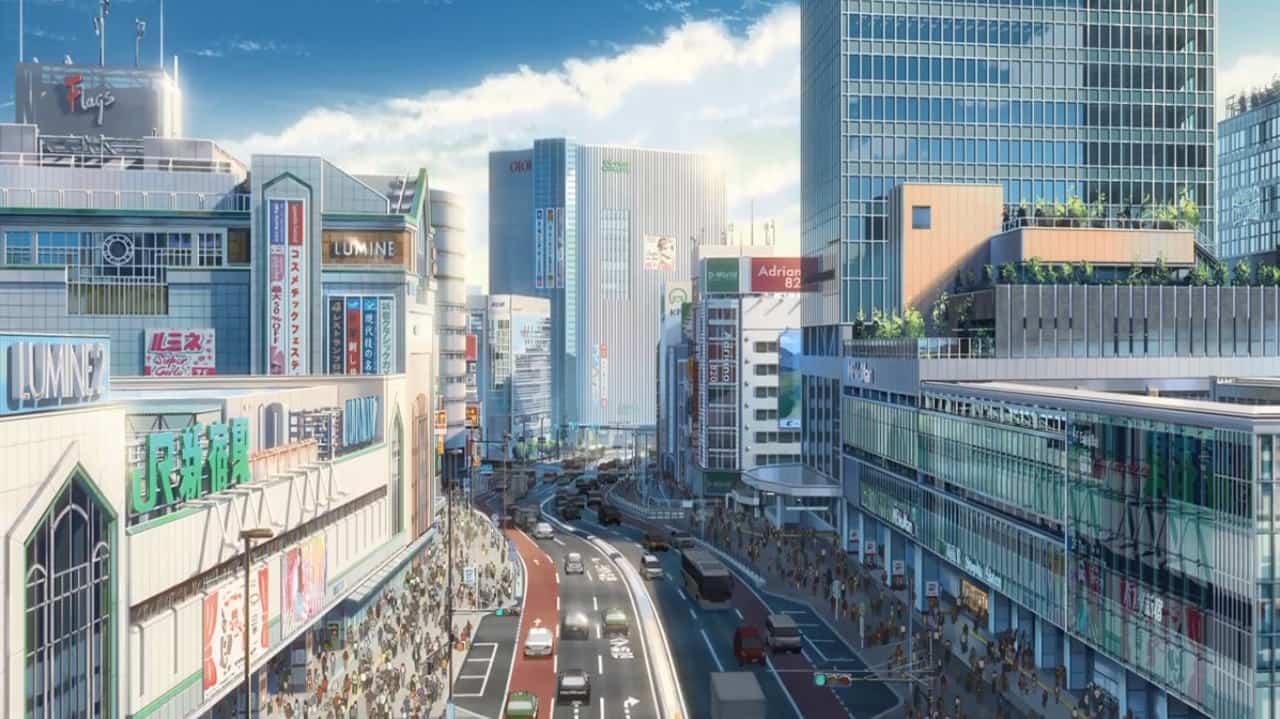 Scene of Your Name at Shinjuku Station in Japan