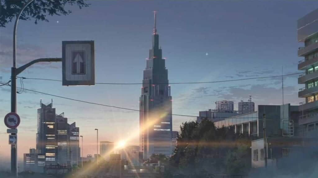 Scene from Your Name in NTT Docomo Tower, Japan