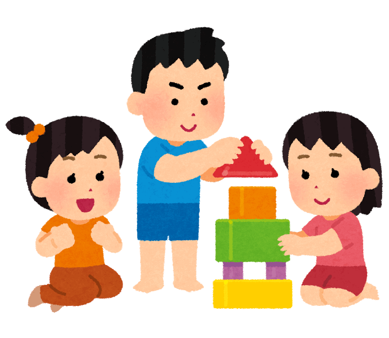 Illustration of Children playing with wooden blocks