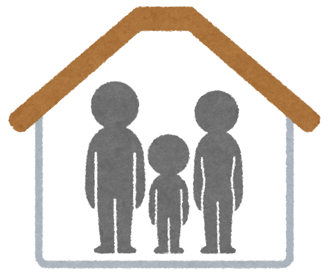 couple with child under roof