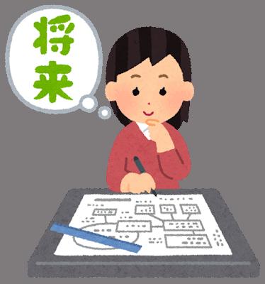 Japanese woman sketching future plans