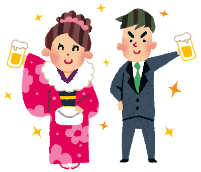 illustration of woman dressed in kimono and man wearing a suit holding beer in Japan