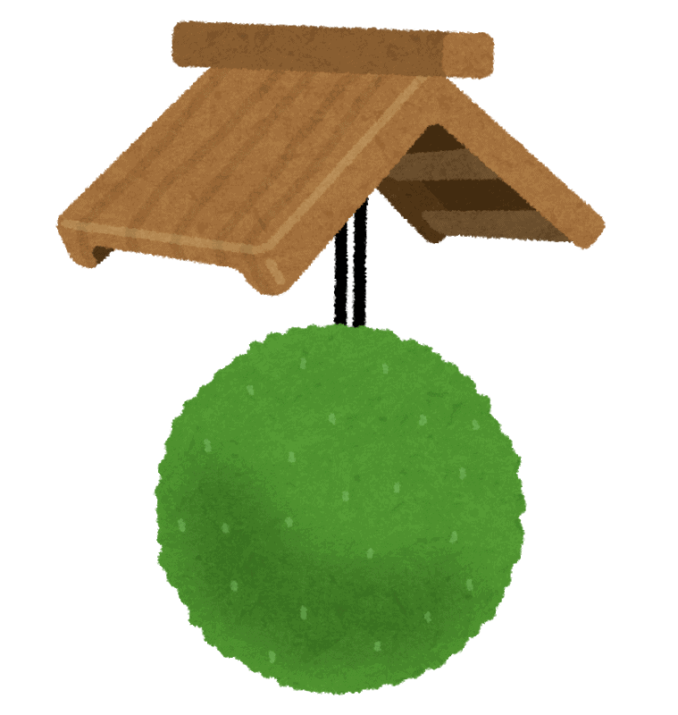illustration of sake ball in front of store in Japan