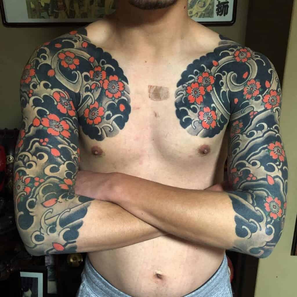 Japanese style tattoo sleeve of sakura