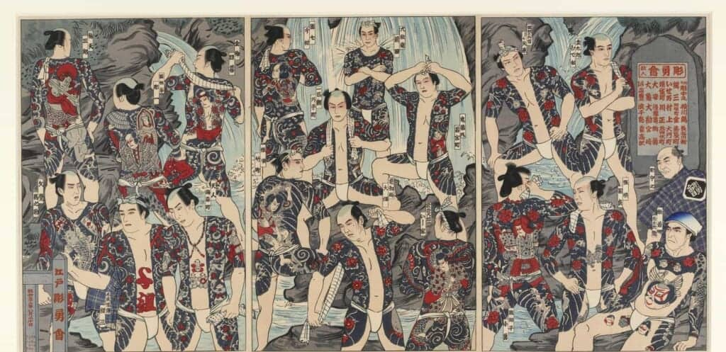 Japanese print of tattooed men under waterfall