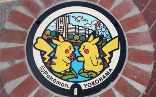PokeFuta - Pokemon Manhole cover in Yokohama with Pikachu