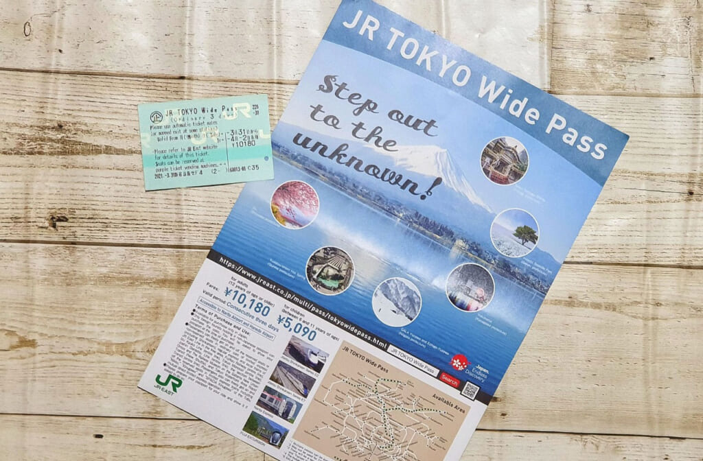 JR Tokyo Wide Pass ticket with pamplet