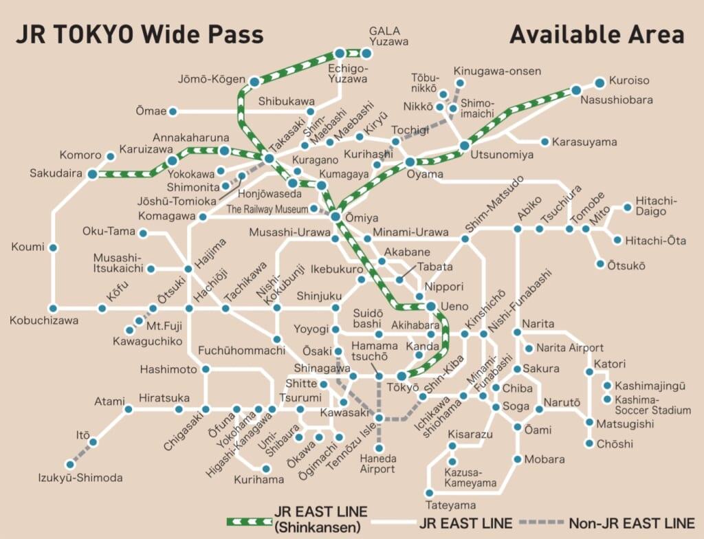 JR Tokyo Wide Pass map