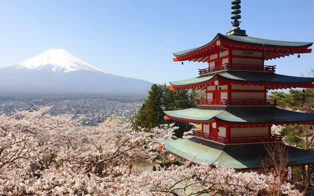 Mount Fuji and the Chureido Pagoda in Japan