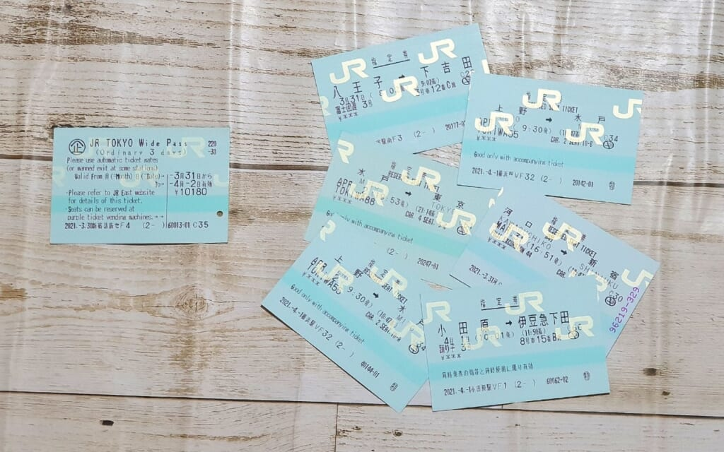 tickets for the JR Tokyo Wide Pass