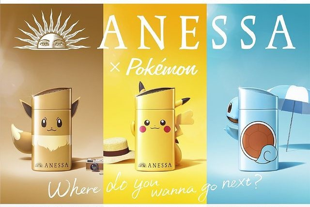 Pikachu, Evee and Squirtle decorated sun creams