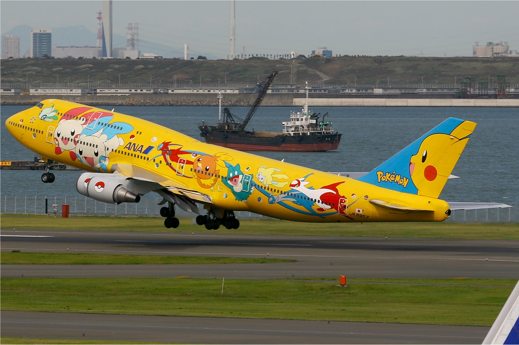 All Nippon Airways plane painted with pikachu decorations