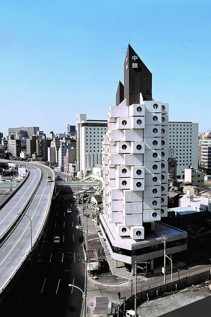 view of Nakagin Capsule Tower in 1972 in Japan