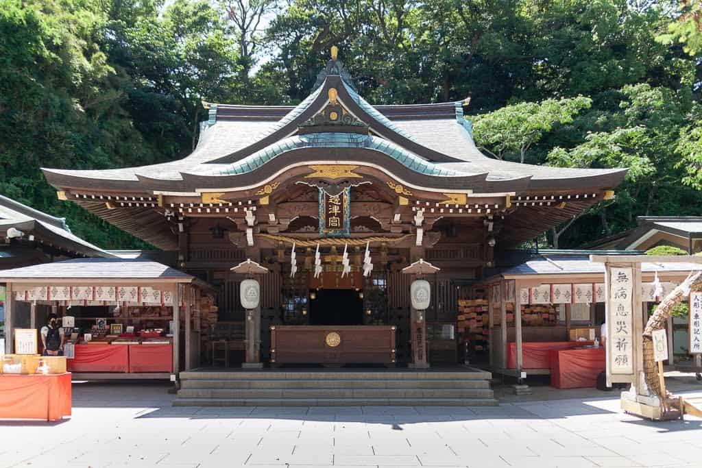 Traditional Japanese shrine on Enoshima near Tokyo