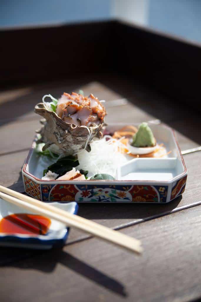 turban shell sashimi in Japan