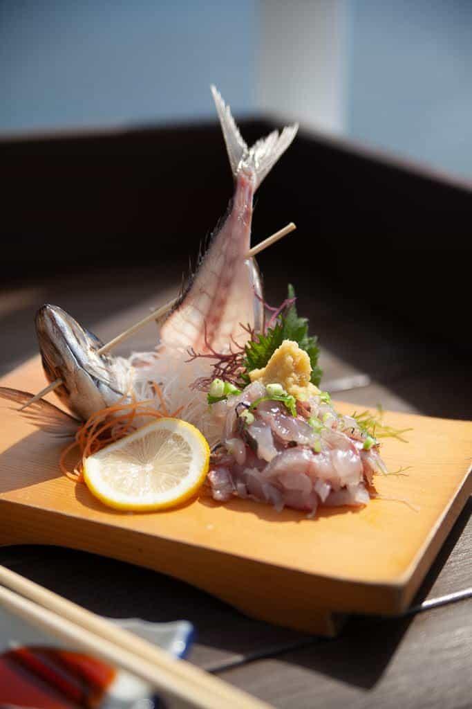 horse mackerel sashimi in Japan