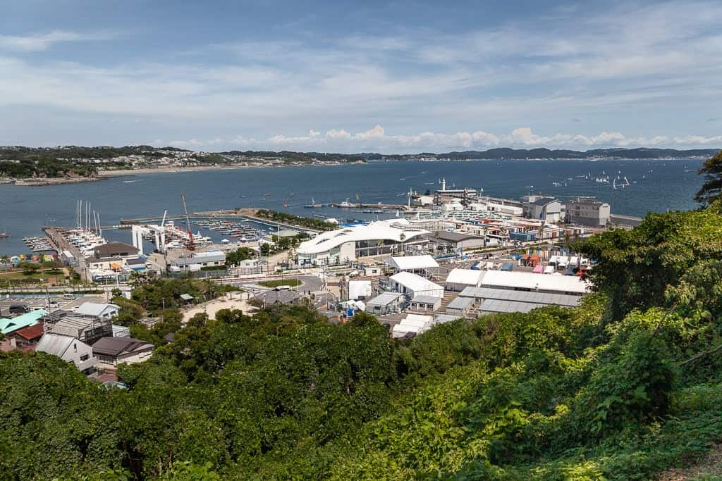 view of sporting harbor from hill in Japan