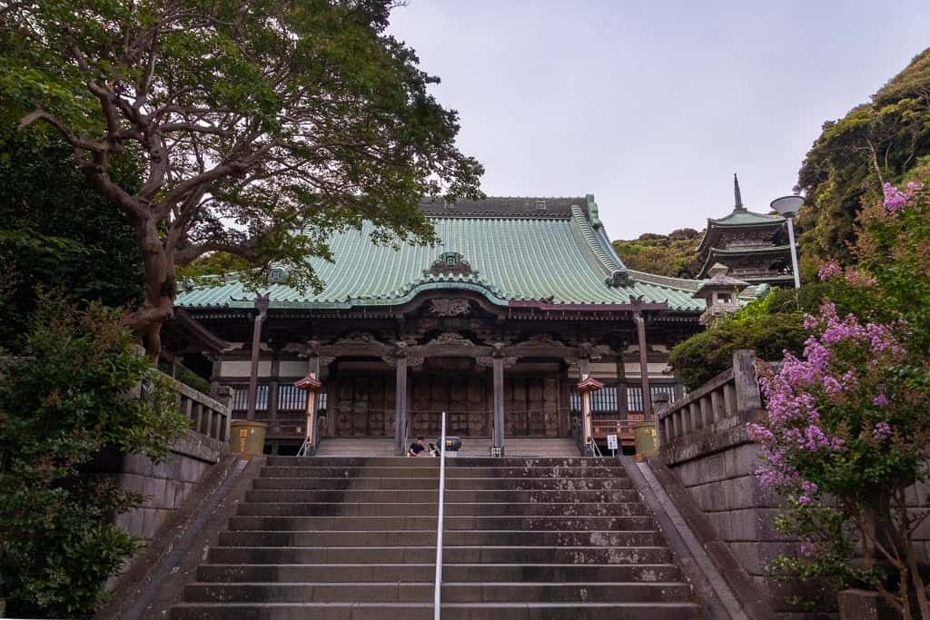 steps leading up to large Japanese shrine