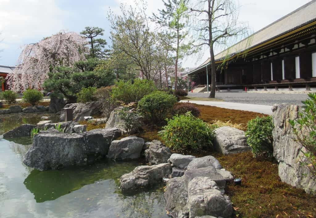 Typical Japanese garden situated outside Sanjusangendo temple, in Kyoto