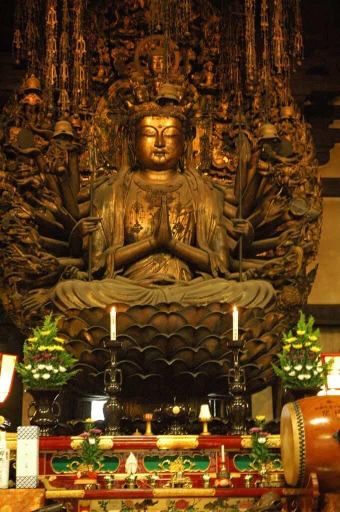 Sculpture of Juichimen Senju Kannon in Kyoto