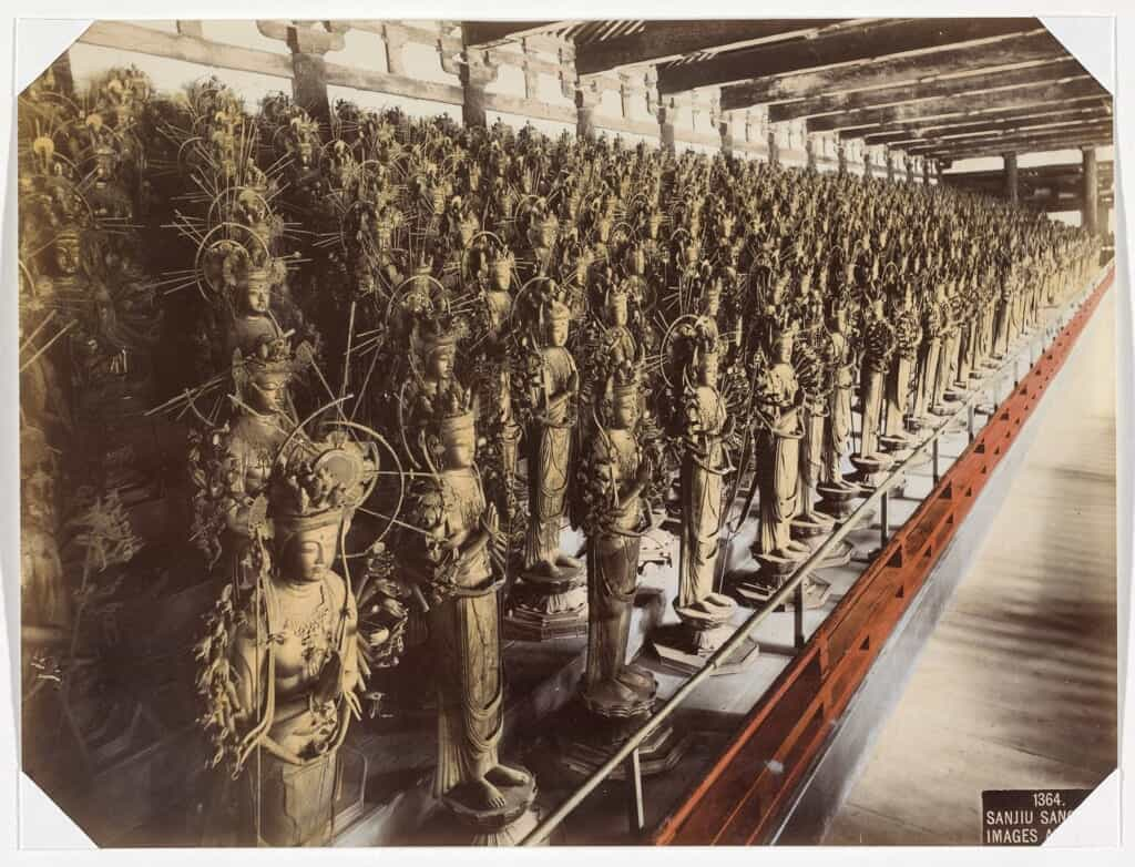 Old photo of the thousand statues of Kannon at Sanjusangendo, in Kyoto