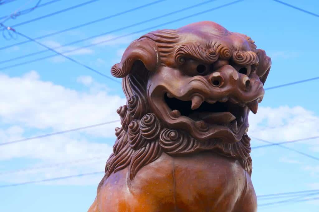 traditional japanese sculpture of komainu