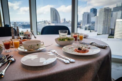 hotel breakfast with view of harbor