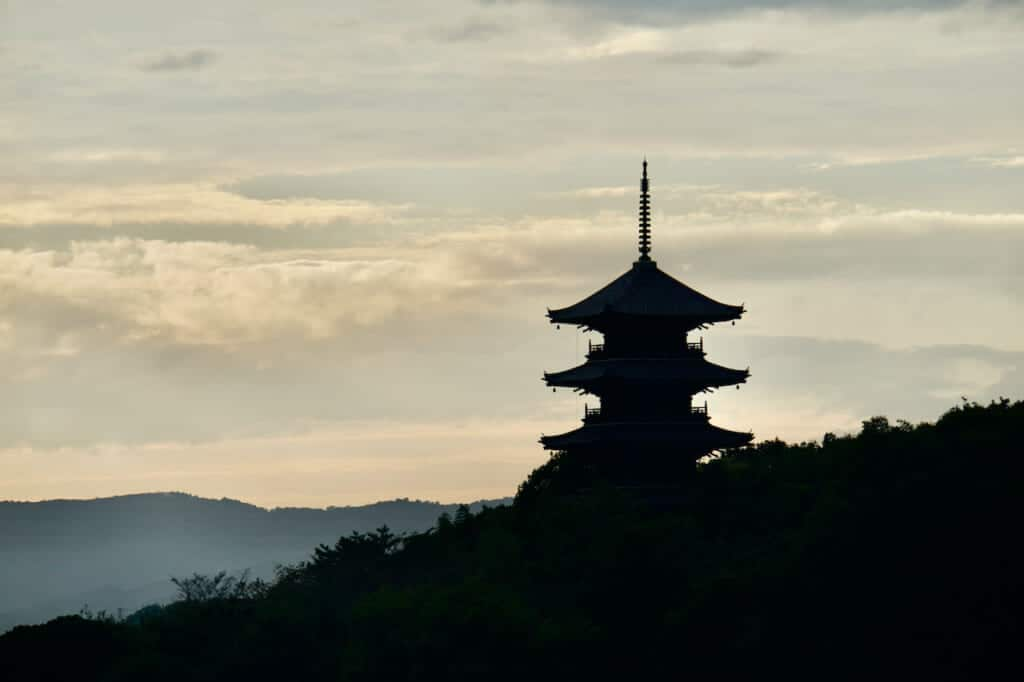 silhouette of Japanese pagoda in forest