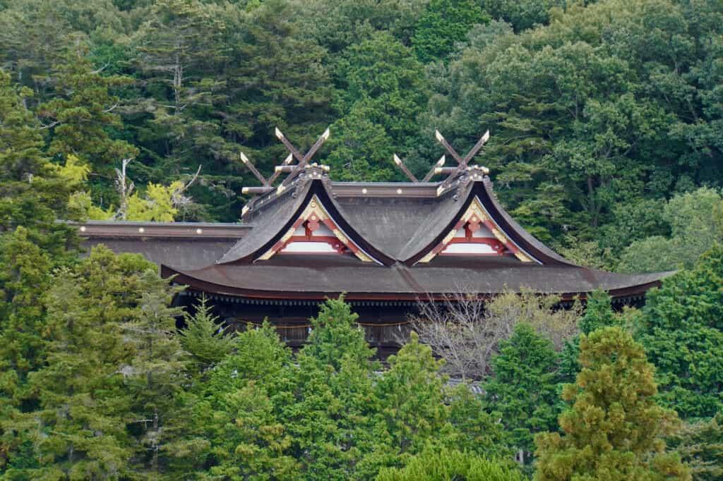 gabled roof of Kibitsu Shrine nestled in forest in Japan